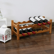 Peach Tree 12-Bottle 2-Tiers Natural Bamboo Wine Display and Storage Rack