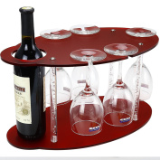 Red Frosted Acrylic Wine Rack free standing on Table-Wine Glass Holder-Wine Glass Rack-Wine Holders Stands Shelf-Wine Storage Rack Display 1 Wine bottle+5 Glass