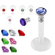 SQdeal Lot of 7 Mix colour Premium Czech Crystal Gem Labret Monroe Lip Ring UV bio-flex Bar Piercing 16g
