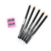 5 WHITE ITALIA EYE LIP LINER PENCIL 1004 SET + FREE SHARPENER & FREE EARRING