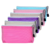 Mudder 6 Pieces Travel Zipper Mesh Bag Makeup Zip Bag Mesh Pouch Organiser for Toiletry and Cosmetics, 6 Colours