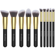 EmaxDesign Makeup Brushes Premium Makeup Brush Set, 10 Pieces Professional Foundation Blending Blush Eye Face Liquid Powder Cream Cosmetics Brushes