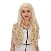 Alacos Fashion 75CM Long Curly Braid Wigs Synthetic Heat Resistant Cosplay Wigs for Women +Free Wig Cap