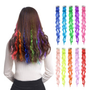 10pcs Coloured Clip in Hair Extensions 60cm Curly Fashion Hairpieces for Party Highlights Multi Colour