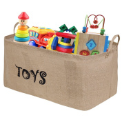 [Upgrade Large Size]Bondream 60cm Jute Toy Storage Toy Chest Bin Basket,Well Holding Shape,Water-Resistant,Collapsible Box Organiser Perfect for organising Baby Toy,Kid Toy,Baby Clothing,Children Book
