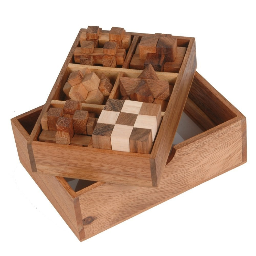 Nava Chiangmai Handmade 6 Wooden Puzzle Gift Set In A Wooden Box