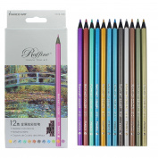 Feelily 12pcs Non-toxic Safety Metallic Coloured Pencils Set Drawing Sketching for Adult Children with Black Wood Wooden Ecopencils