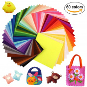 """Sunerly 60PCS DIY Soft Felt Non-woven Fabric Sheet Squares Fabric Sheets 60 Colours, 6""""x 6"""" (15x15cm) Patchwork Sewing DIY Polyester Craftwork Felt Sheet for Craft Thick 1mm + 100PCS Wiggle Googly Eyes"""