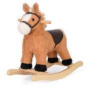 Fluffy Rocking Horse Childrens Plush Light Brown Animal Rocker Riding Toy