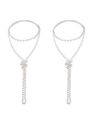Mudder 2 Pack 1920s Fashion Artificial Pearl Necklace Flapper Beads Faux Pearl Party Accessories, 180cm
