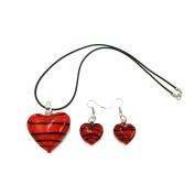 Skyllc® Unique Heart shape black Lampwork glass beads beautiful Necklace Earrings set