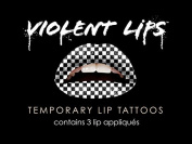 Violent Lips BLACK AND WHITE CHECKER - Lot of (3) Packages of 3 Lip Tattoo Appliques Each, Total of 9 Appliques in Black and White Checker Flag