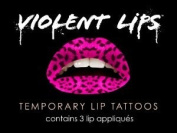 Violent Lips PINK LEOPARD - Lot of (3) Packages of 3 Lip Tattoo Appliques Each, Total of 9 Appliques in PINK LEOPARD ANIMAL PRINT