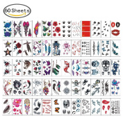 60 Sheets Colourful Temporary Tattoo Stickers Various Designs Removable Waterproof Temporary Tattoos Body Art Sticker Sheet Paper
