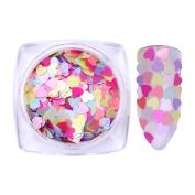 BONNIESTORE Nail Tips 2g Matte Pearl Heart Shape Nail Sequins 3mm Mixed Colour Glitter Flakies Paillette Nail Decoration DIY