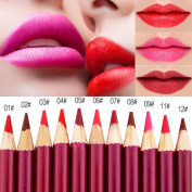 HuangHM All 12 Colours Professional Sophisticated Durable Longwear Lipliner for Permenant Microblading Tattoo Sharpening Mechanical Shaping Waterproof Lip Liner Pencil Makeup Cosmetics Beauty