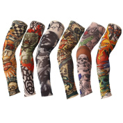 6 Pcs Nylon Fake Temporary Tattoo Arm Sleeves Body Art Tattoo Fancy Dress Warm Stockings for Women Men B