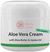 Aloe Vera Cream Moisturiser, 120ml from Beauty Ocean - For Sun Burn, Eczema, Dry Damaged Ageing skin, Razor Bumps