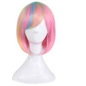 Yesui Cosplay Wig Short Bob for Women Synthenic Straight Hair Ombre Multicolor Pink Wigs with Side Part Costumes Party
