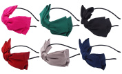 STHUAHE 6PCS Women Fashion Double Layer Solid Colour Silk Fabric Big Bow Headband Headband Headwear Headwrap Hair Accessories