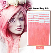 Wholesale 2017 best selling Baby Pink Colour 100% Human hair Tape in Hiar extensions