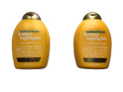 OGX Sunkissed Blonde Lemon Highlights Shampoo and Conditioner Set, 380ml
