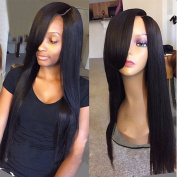 Brazilian Hair Straight Lace Front Wigs with Bangs Straight Human Hair Wig with Bangs for Black Women Natural Colour