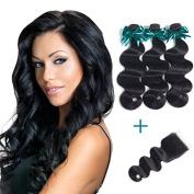Brazilian Body Wave Virgin Hair 3 Bundles With Free Part Lace Closure 100% Unprocessed Human Hair Body Wave Bundles Natural Colour