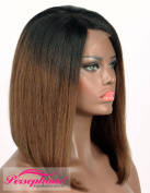 Persephone Exclusive Ombre Brown Dark Roots Lace Front Human Hair Wigs Silk Top with 1×7.6cm Invisible Deep Part Brazilian Silk Base Short Bob Wigs Human Hair for Black Women 150% Density 36cm