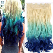 Neverland Beauty 60cm One Piece Clip in Triple Ombre Three Tone Synthetic Curly Wavy Hair Extensions Blonde to Light Blue to Blue #9