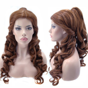 Anogol Hair Cap+Women Ponytail Wigs Curly Brown Cosplay Wig for Halloween