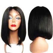 Straight Bob Wig Shoulder Length Wigs for Women Black 7A Grade Product Virgin 100% Brazilian Human Hair Full Lace Bob Wig 130 Density Natural Black Baby Hair