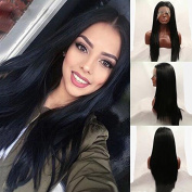 Meige Wig Synthetic Lace Front Wig Black Soft Straight Wigs Heat Resistant Glueless Lace Front Wigs for Women 60cm