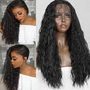 Meige wig 150 Density Long Loose Curly Synthetic Lace Front Wigs Black Colour Hair for Fashion Women