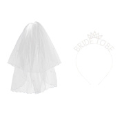 MonkeyJack Pearls Bride Veil With Comb + Bride to Be Diamante Tiara Crown Hen Night
