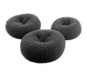 3 Pcs Women's Fashion Donut Hair Bun Maker Rings Large Hair Doughnut Accessories Hair Chignon Black