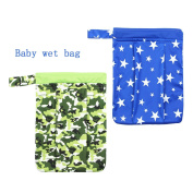 Baby Wet/Dry Cloth Nappy Bags 2pcs Pack Waterproof Bags with Zipper Snap Handle