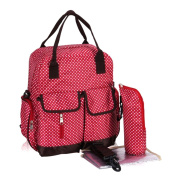 Baby Lovess Multifunction Waterproof Polka Dots Nappy Backpack Bag with Changing Pad and Zipper Insulted Bottle Bag Red