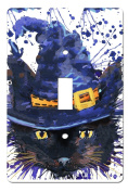 Halloween Black Cat with Hat Watercolour Decor