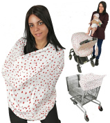 Nursing Breastfeeding Cover EZ Creations, Multi use-Stroller Canopy, Car Seat, Shopping Cart, Swaddle, Hi-Chair. Soft Breathable Washable