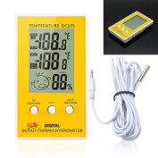Feamos Digital LCD Indoor Outdoor Humidity Hygrometer Thermometer Metre Probe Cable C/F