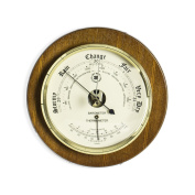 Time Factory AJ-WS075 Barometer with Thermometer on Cherry Wood with Brass Bezel, 23cm