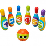 Kids Bowling Set Skittles Toys - Wishtime ZM17040 Skittles Bowling Set 6Pcs Toy Outdoor Indoor Bowling Pins Game with Balls for Kids over 3 Years Old