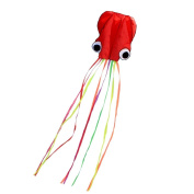 FUNTOK Octopus Kite For Kids Red Mollusc with Long Colourful Tail Large 4m(400cm ) Fun Outdoor Games and Activities For Kids Adults