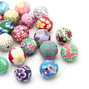 Enking Polymer Clay Spacer Beads Printed Round Jewellery Making DIY Crafts Mixed Colour