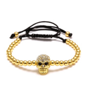 primerry Hot Sell Fashion( Skull Zircon Copper Beads)Weave Bracelet