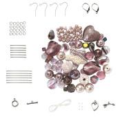 Purple Lava Rock ~ Mixed Glass Beads & Findings Kit