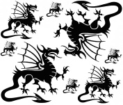 Welsh Dragons 2.5cm - 10cm - Black 17CC872 Fused Glass Decals