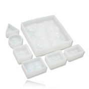 Double One 7pcs/set 3D Water Ripple Silicon Mould Mould Epoxy Resin Jewellery Beads Making DIY