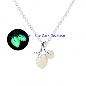 GREEN Glow in the Dark Leaf Necklace, Glowing Jewellery, Glowing Leaf, Gifts for Her, Easter Gift, Birthday Gift